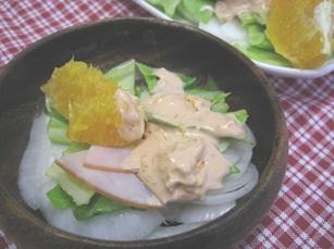 ネーブルソースの春野菜サラダ