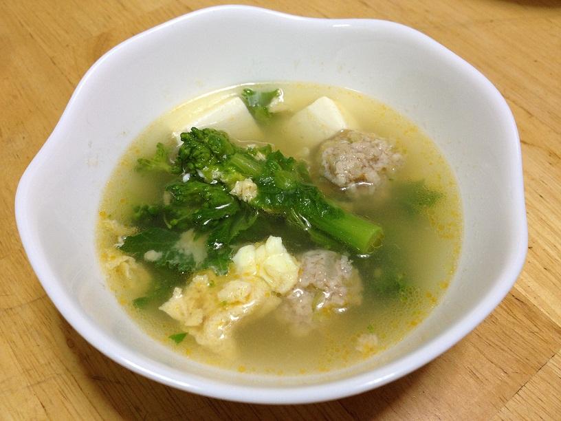 菜の花と肉団子のかき玉スープ