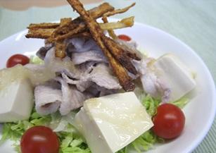 手作りオニオンドレッシング 春野菜サラダ