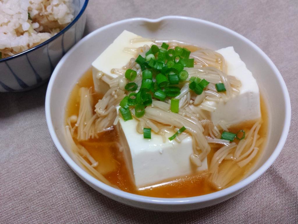 えのき茸のあんかけ豆腐