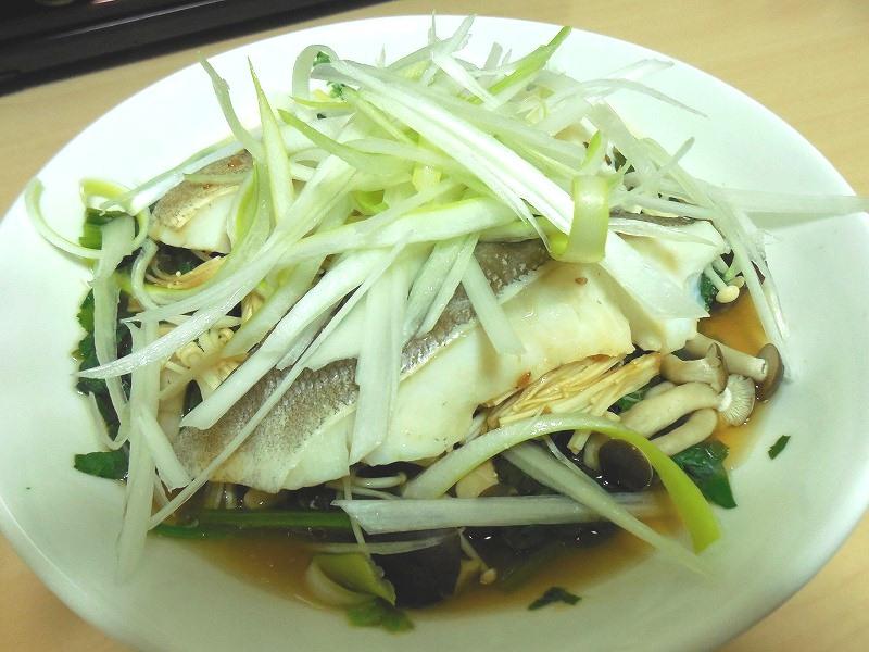 小松菜と魚のレンジ蒸し