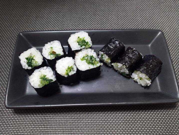 水菜の醤油漬けの海苔巻き