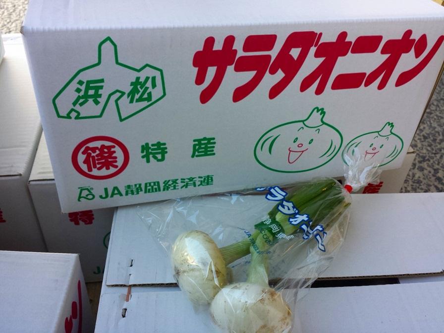 静岡県産葉付きたまねぎ入荷しています