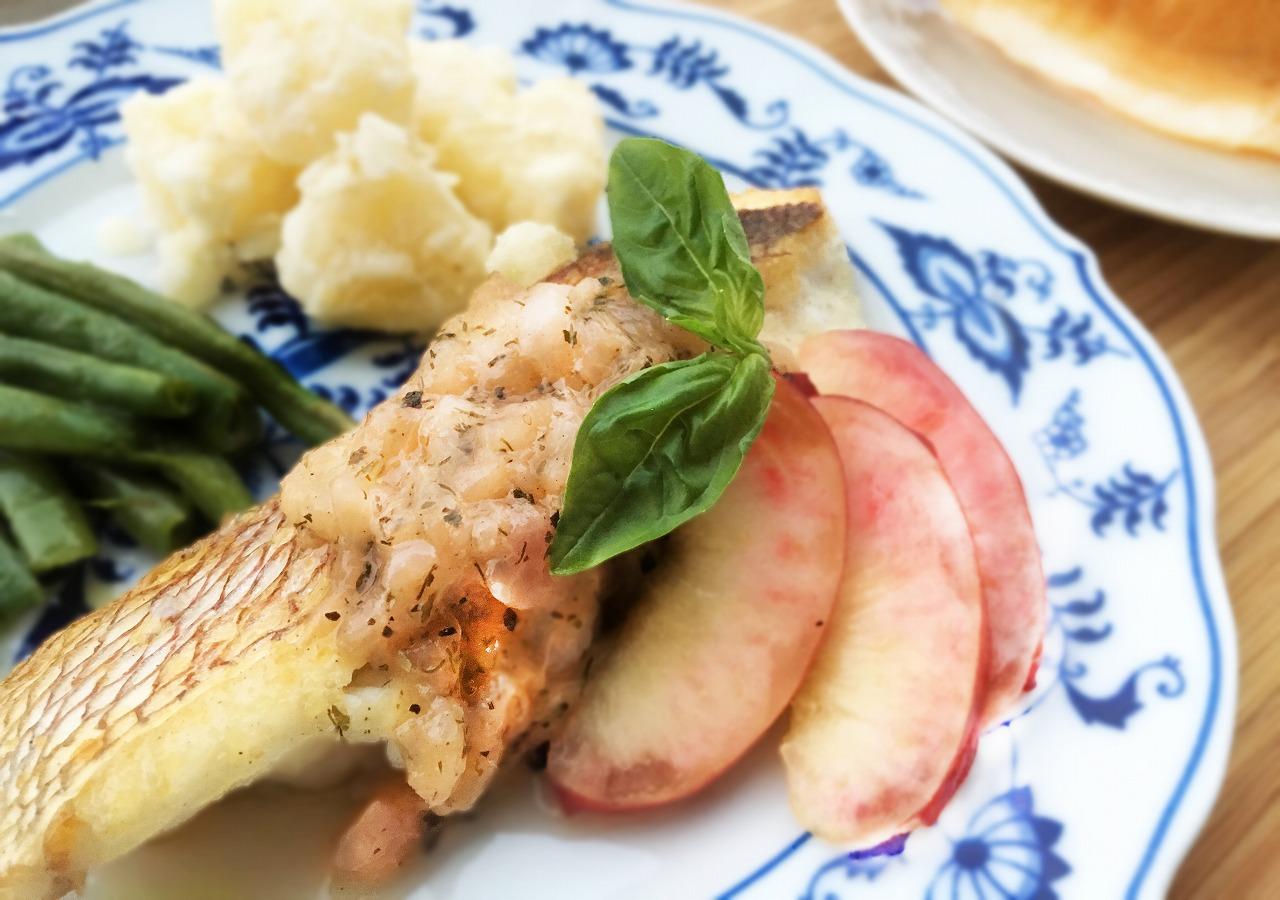 白身魚のソテー ネクタリンソース