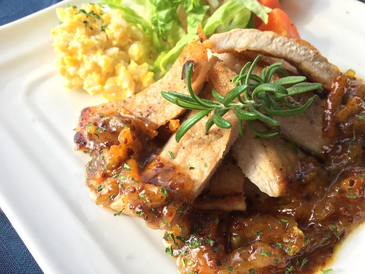 豚肉のソテー マーマレードマスタードソース